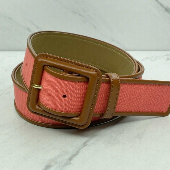 Talbots Coral Wide Belt with Brown Trim