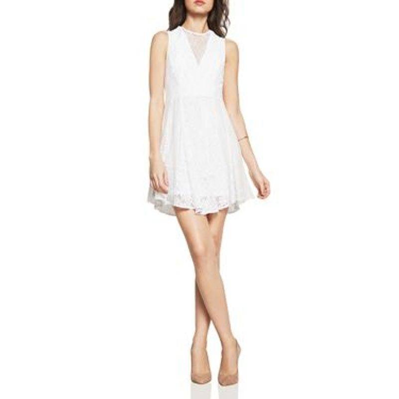 BCBG Mixed Lace Fit & Flare Mini Dress