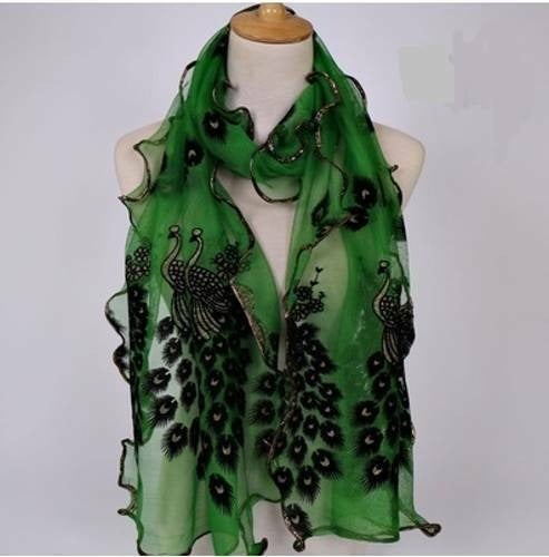 Soft Chiffon Green Peacock Scarf Wrap