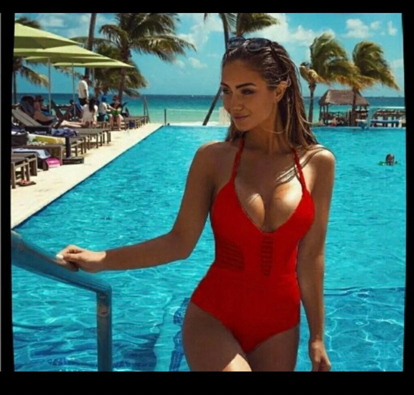 Medium red bikini one piece monokini