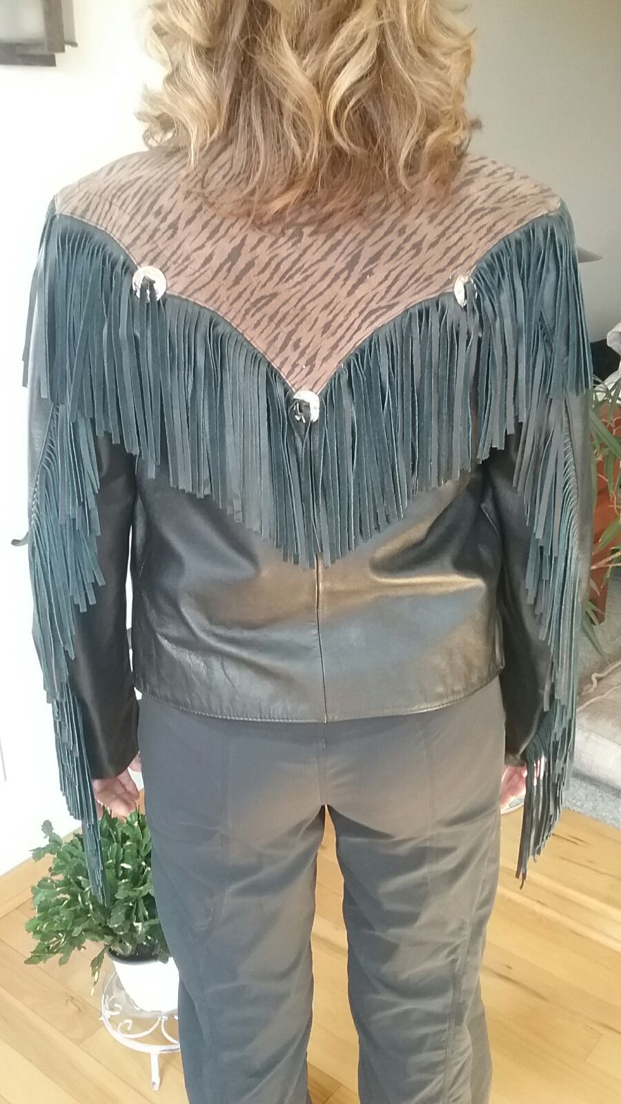 Tiger and Fringe Leather Jacket