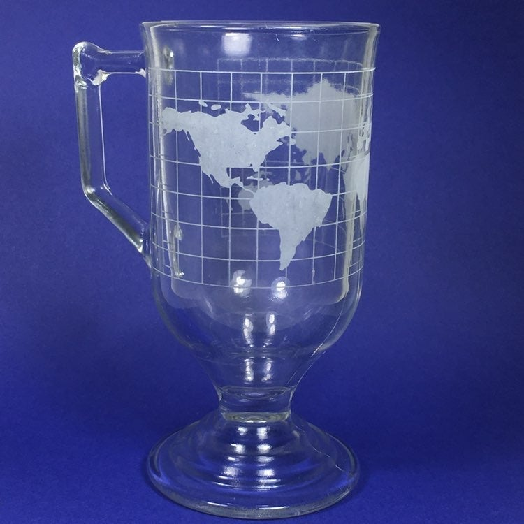 Nescafe Tall Footed Glass Map Mug
