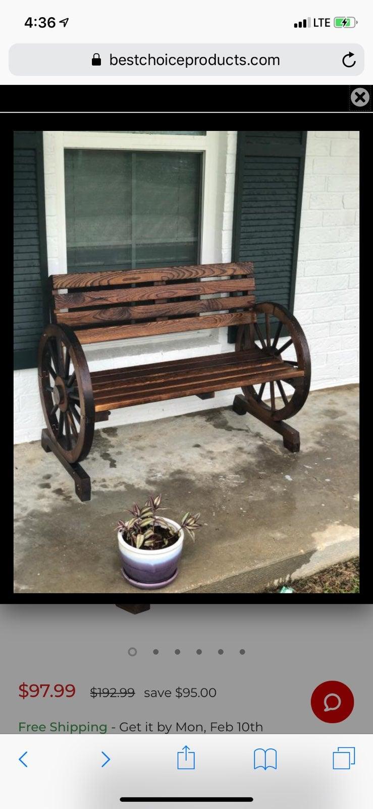 Wooden Wagon Wheel Bench Garden New