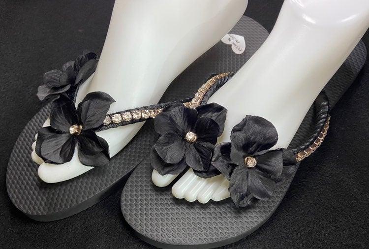 Brand New Customized Black Flip Flops