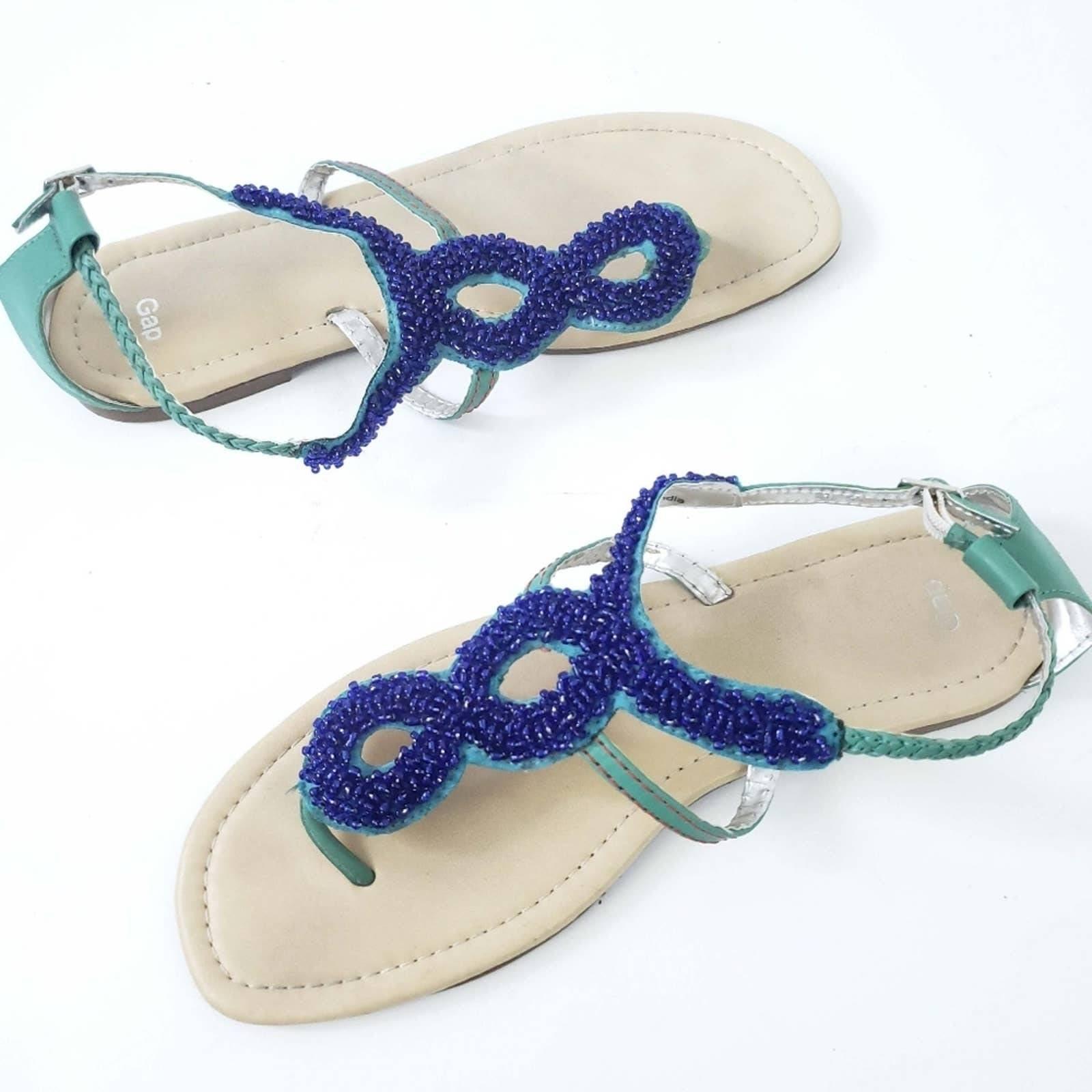 Gap Beaded Sandals Blue, Green Size 10
