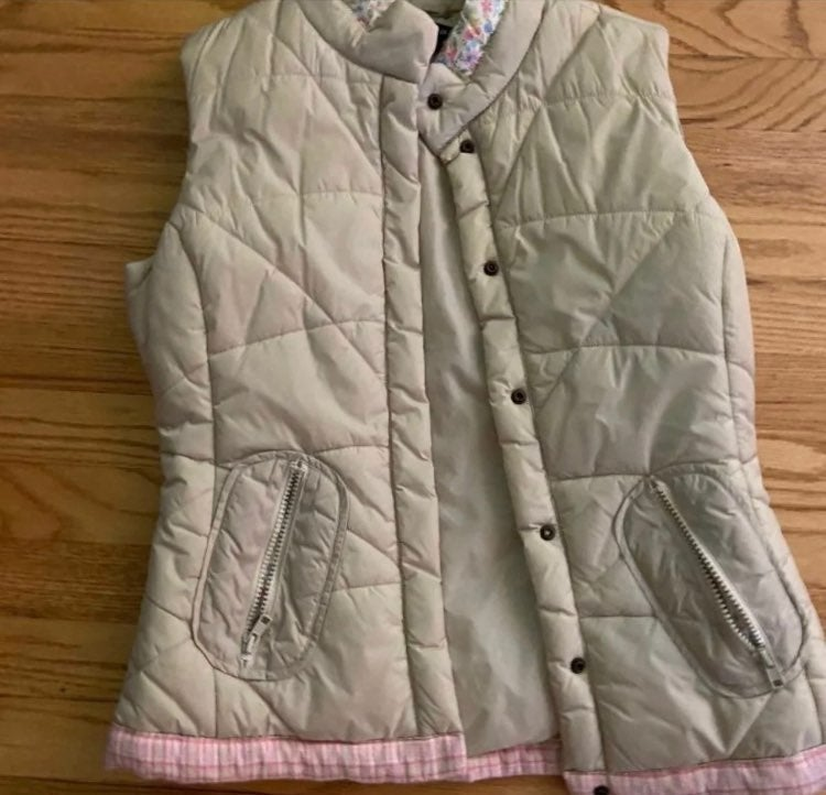 Puffer Vest With pink floral trim