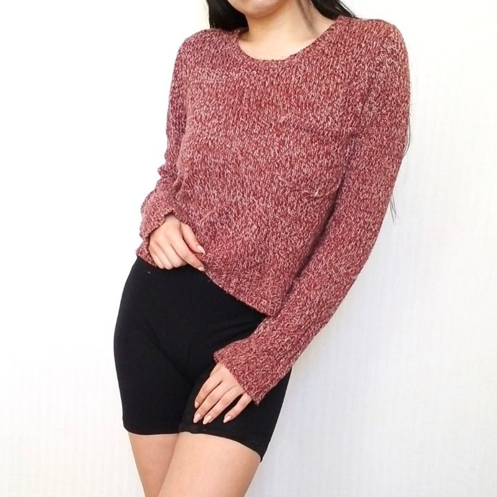 Washed Red White Knit Crop Top Sweater