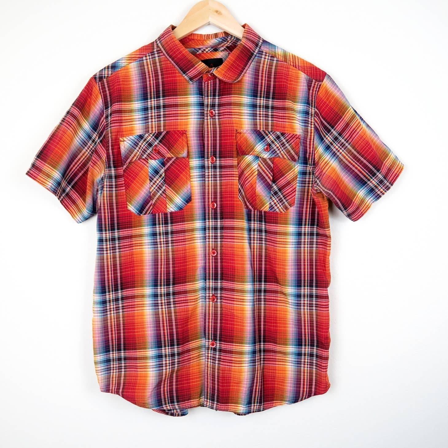Prana Rainbow Plaid Button Front Shirt
