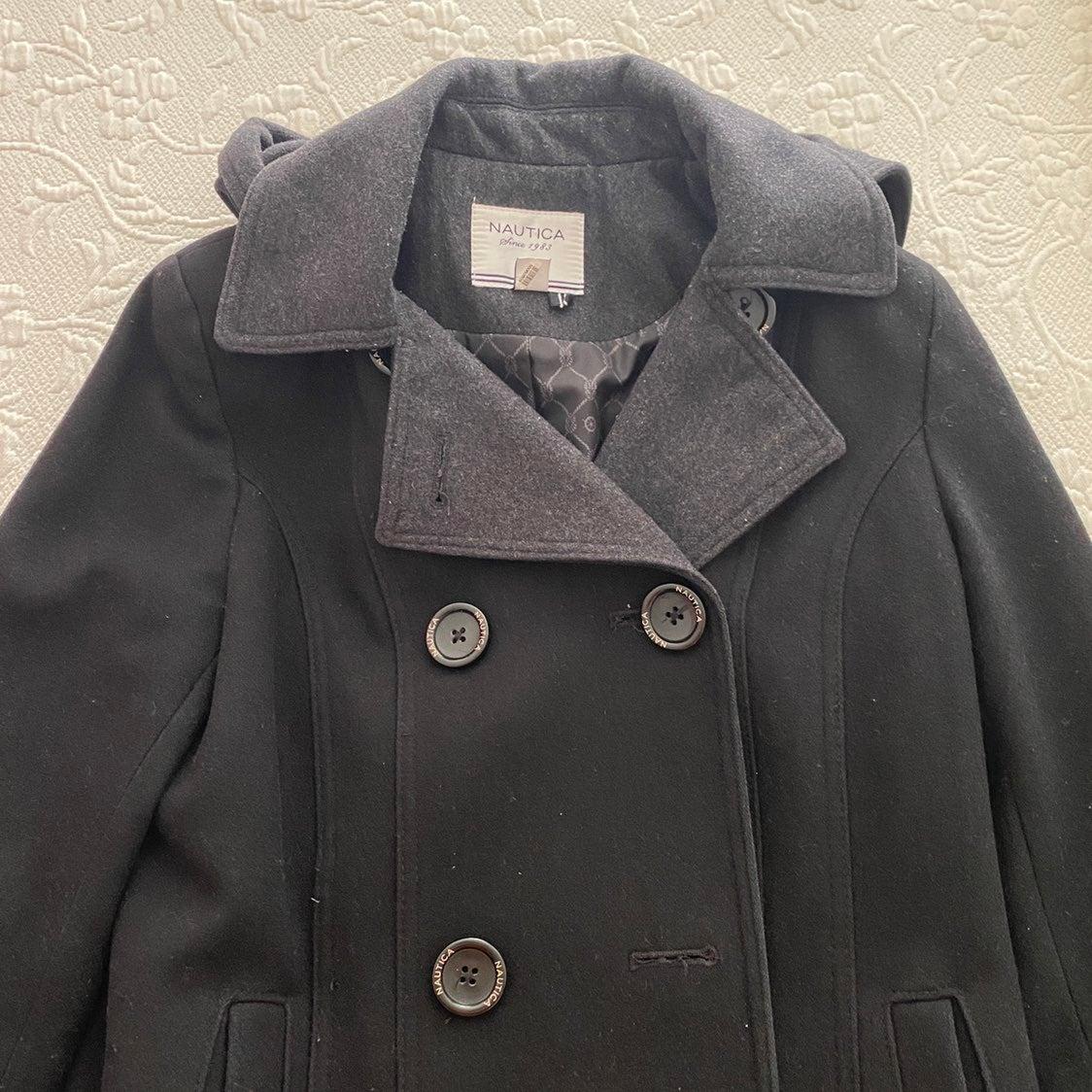 Nautica Black Wool Coat