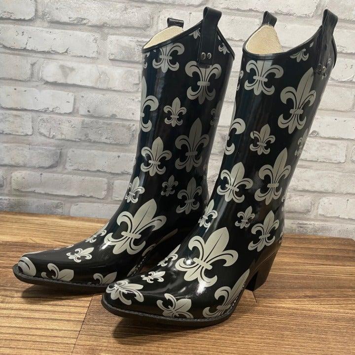 Nomad fleur-de-lis Rain Boots Size 8
