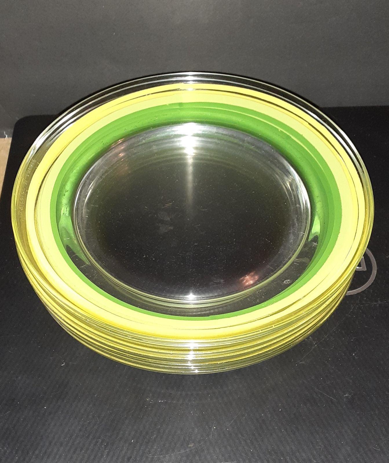 Lot Of 8 VTG Arcoroc France Green Yellow
