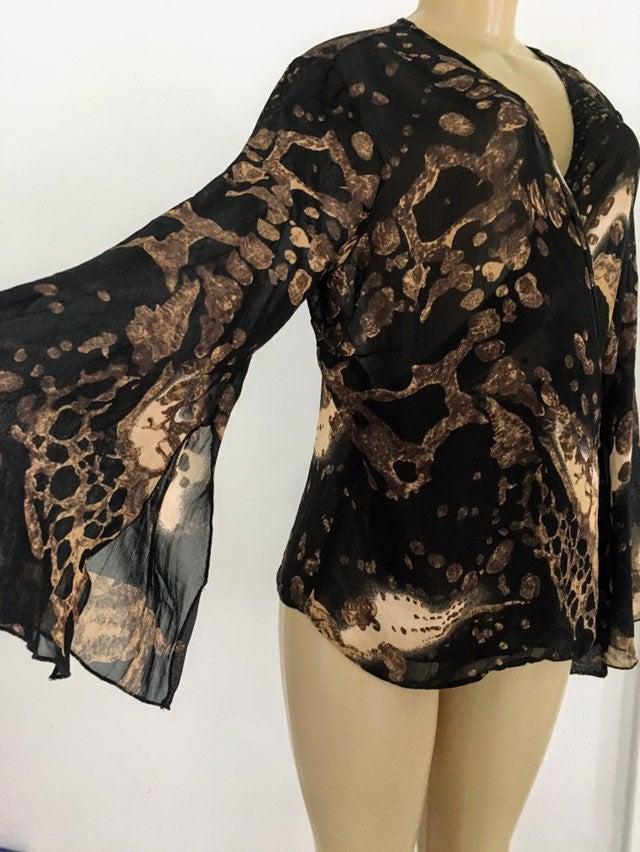 Wrap bell Sleeve Brown Printed blouse 14