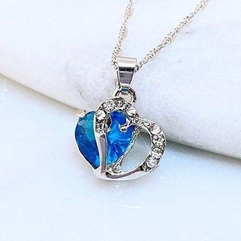 Blue Crystal Floating Heart Pendant Neck