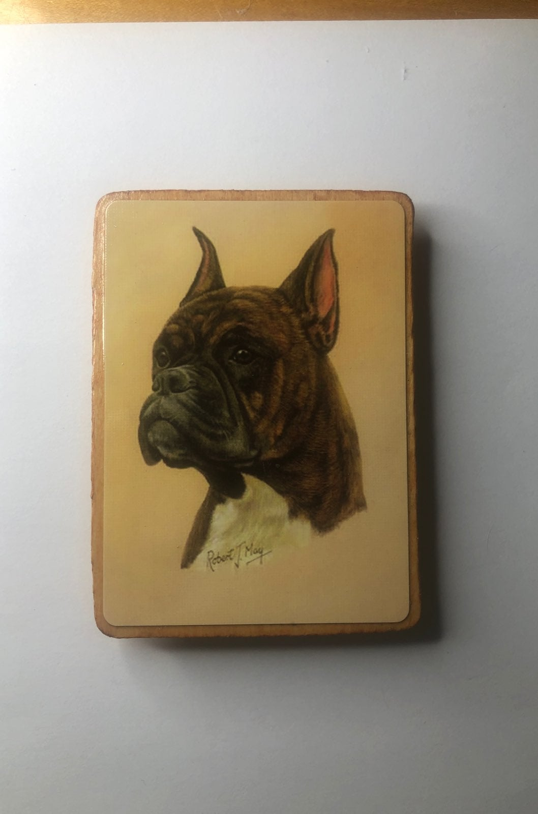 Boxer Dog Wood Magnet