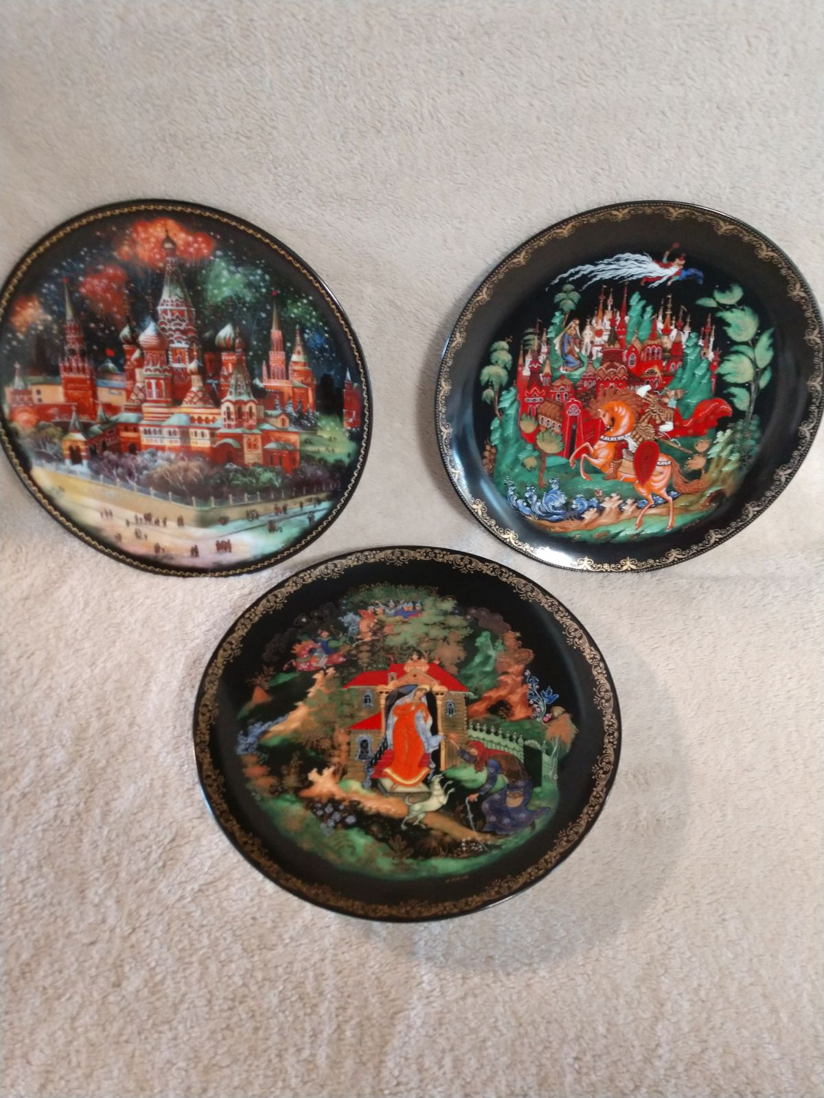 3 Russian Porcelain Collector Plates
