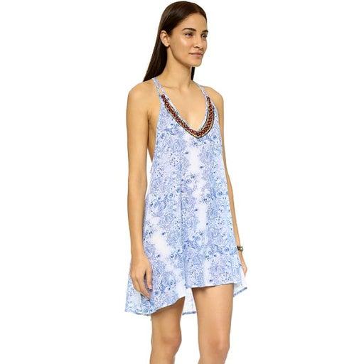 OndadeMar Blue Embroidered CoverUp Dress