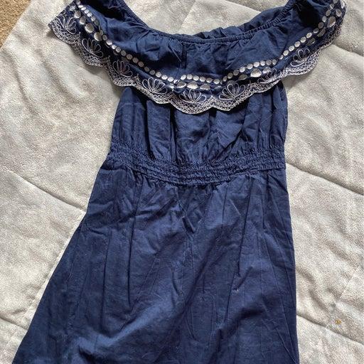 Blue cold shoulder cottton embroidered S