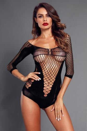 Sexy Black Fishnet Teddy