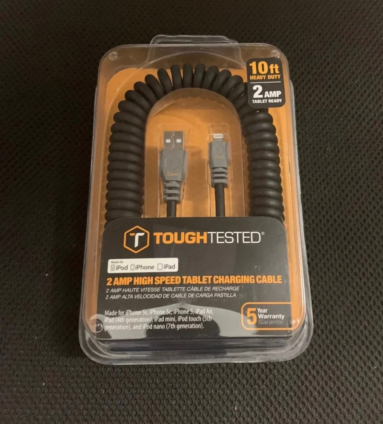 Tough Tested 10' LIGHTNING Charge Cable