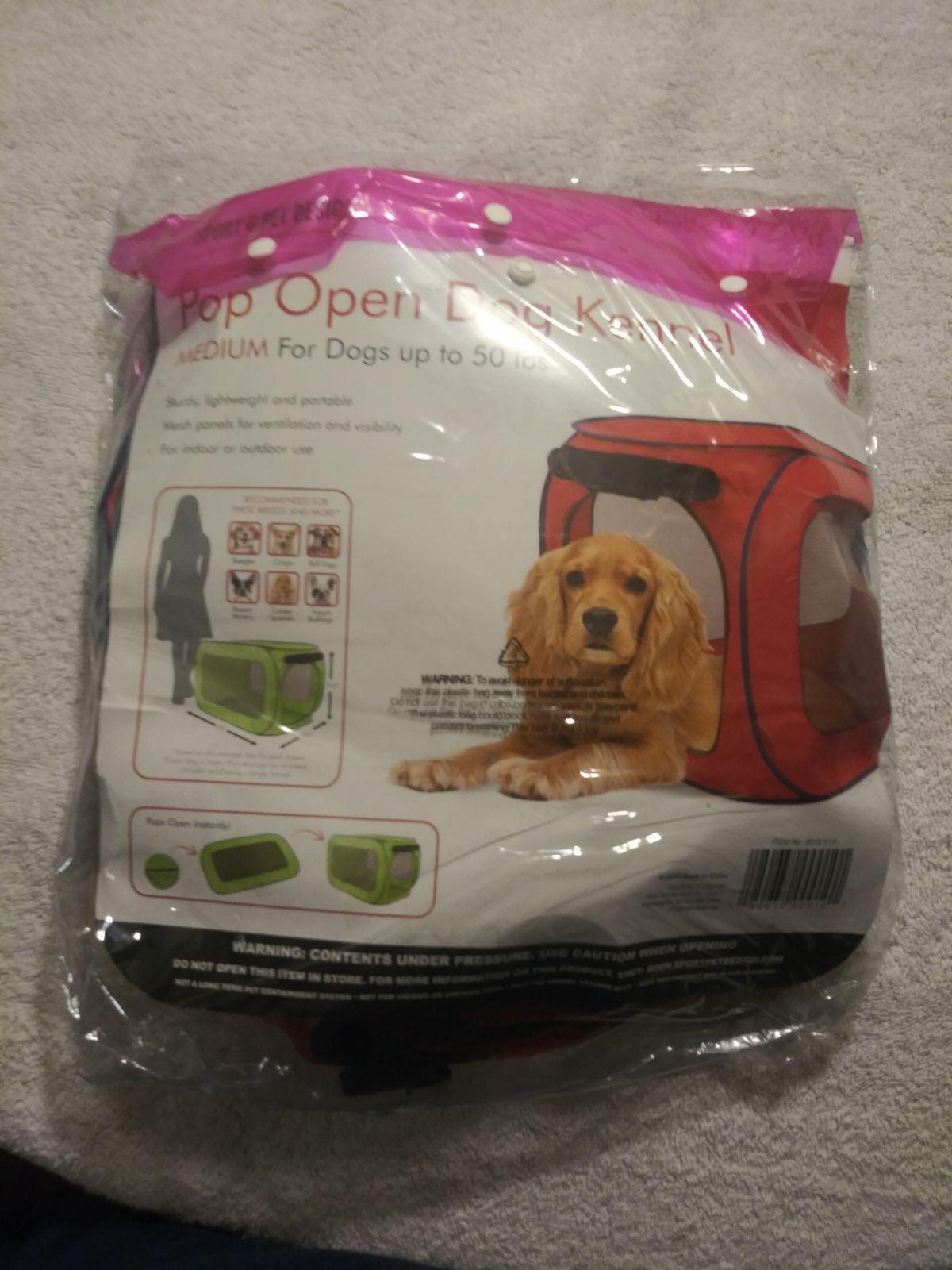 Pop open medium dog kennel