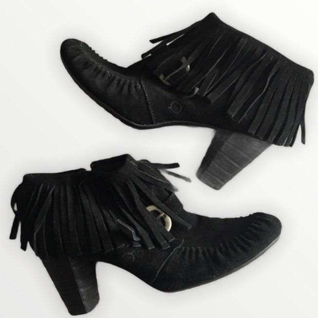 Born Fringe heeled Thora black booties