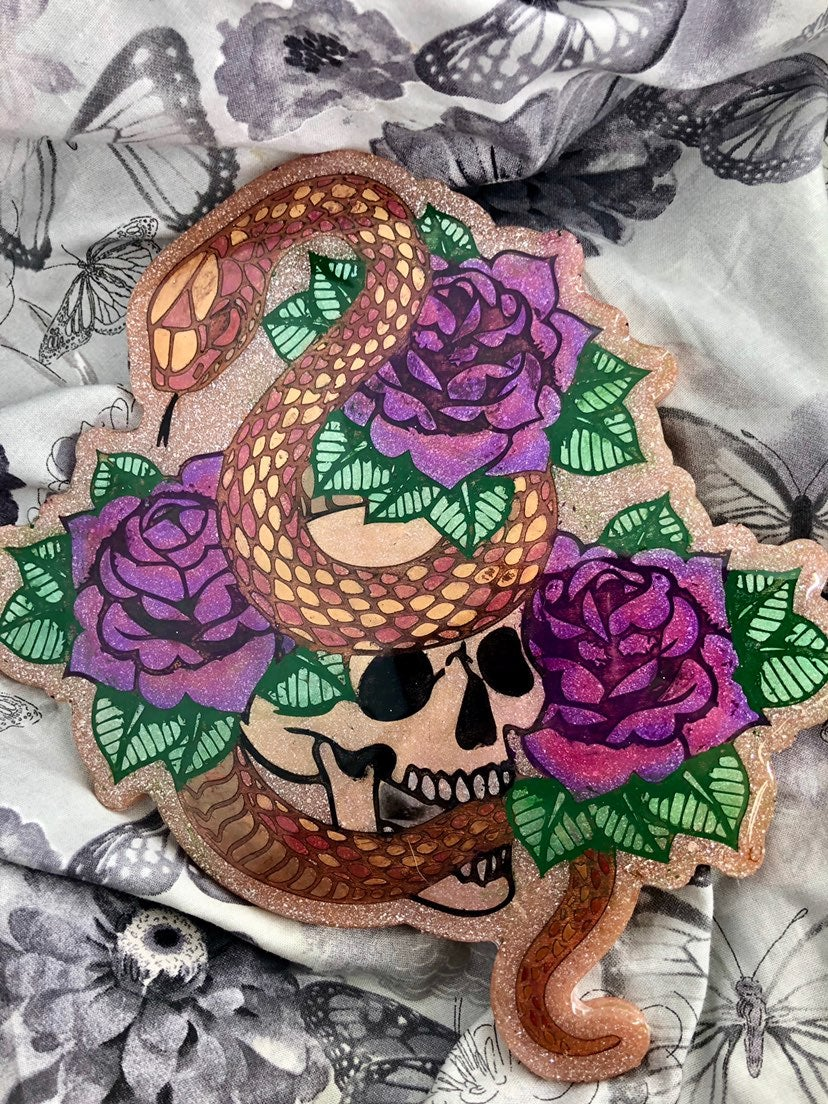 Rose gold Skull snake and roses plaque