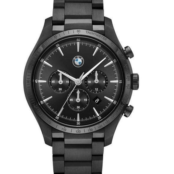 NWT BMW Classic Black Steel Chronograph