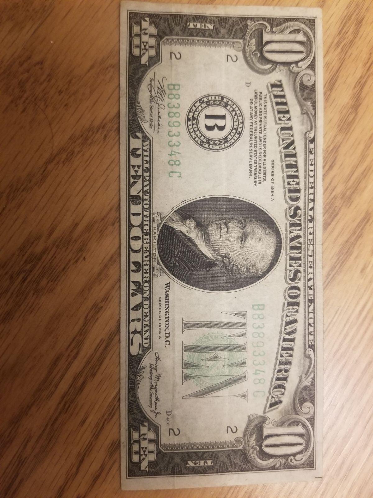 1934 $10 Dollar Bill Lot of Two