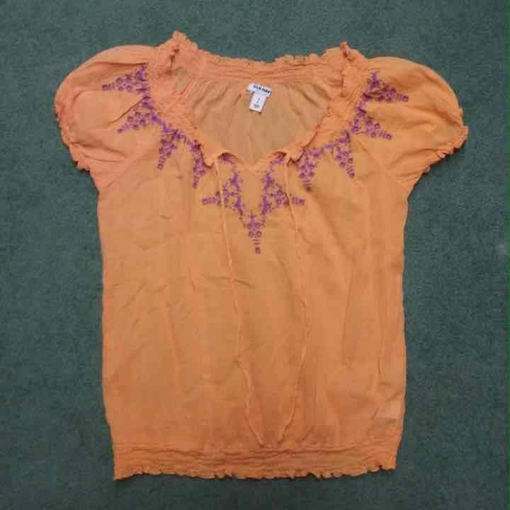 Orange sheer top