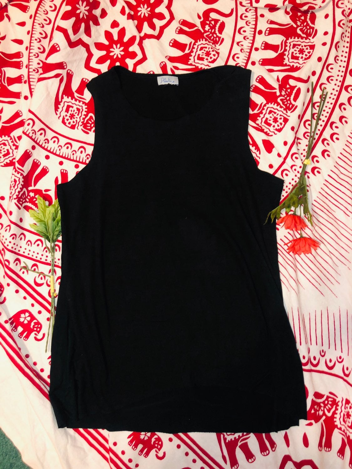 Abbeline Suede Black Tank Top