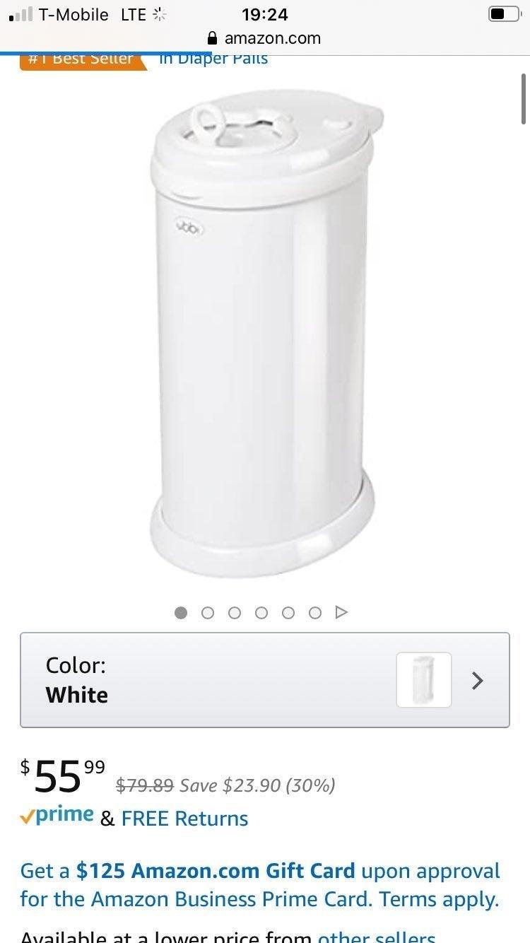 White ubbi diaper pail