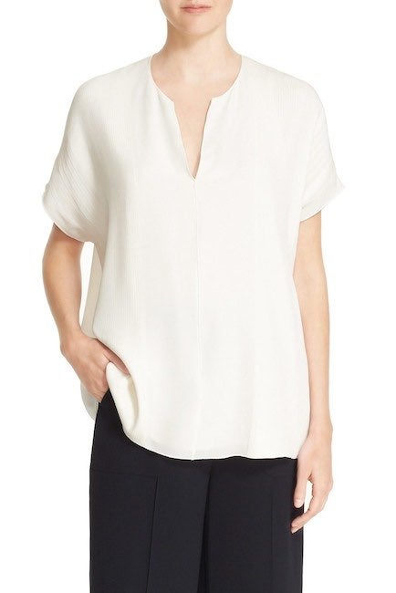 Vince Pintuck Pleated Silk Blouse Small