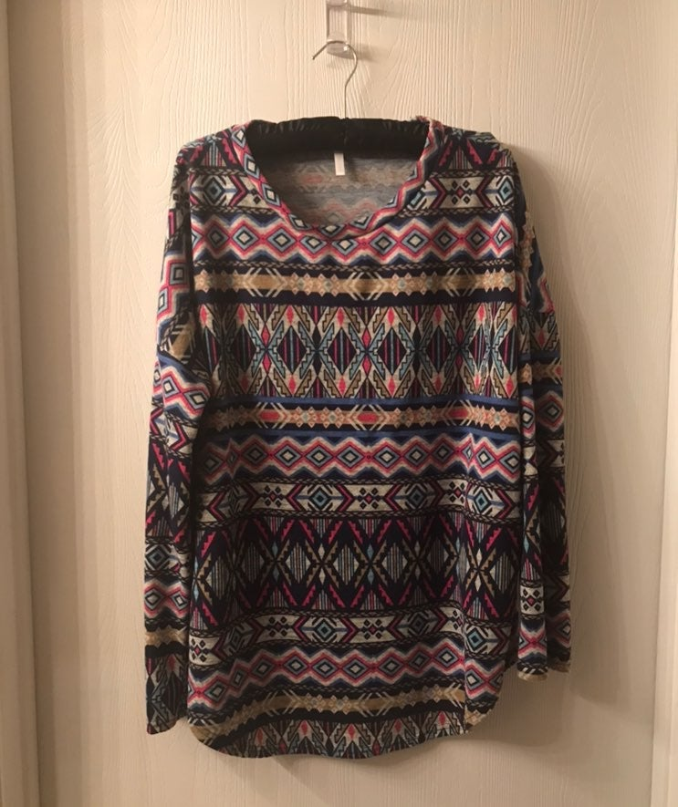 Pink Blush Multi Aztec Print Shirt XL