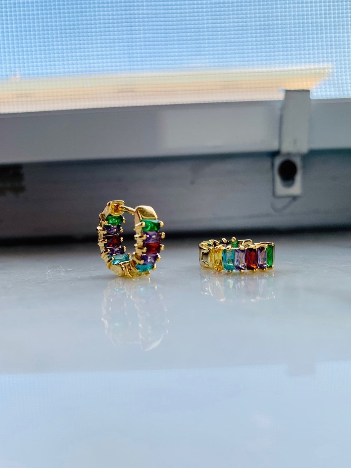 Gold Plated Multicolor Zircon earrings