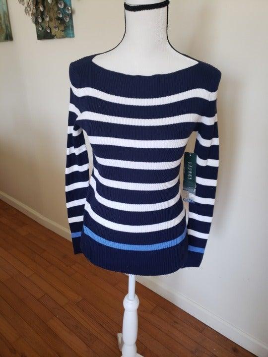 NWT Ralph Lauren Blue Striped Sweater