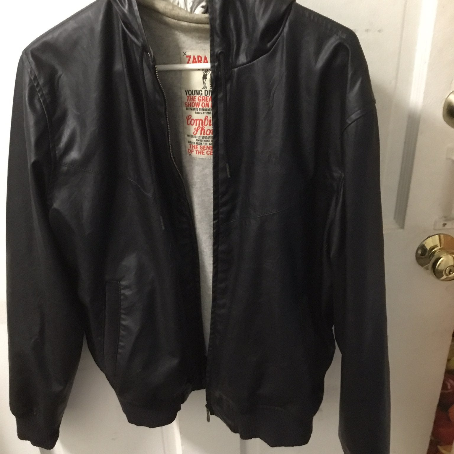 Leather Jacket hoody zara man