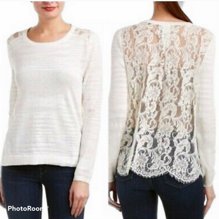 CAbi Sofia Lace  Back Ivory Sweater M