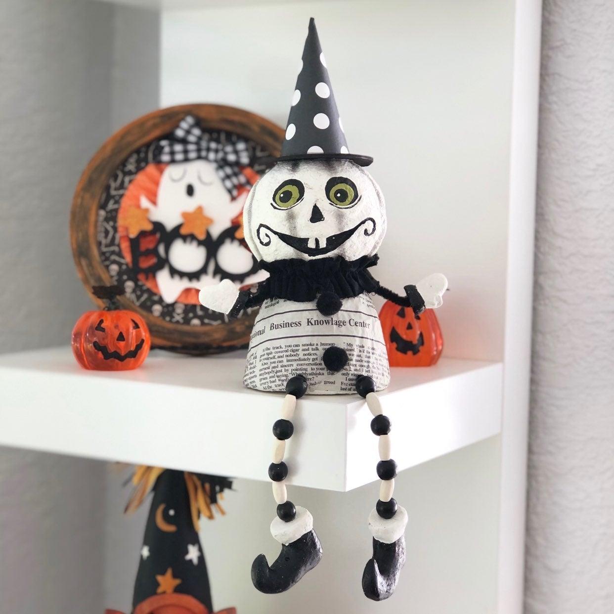 Vintage Halloween White Pumpkin Figurine