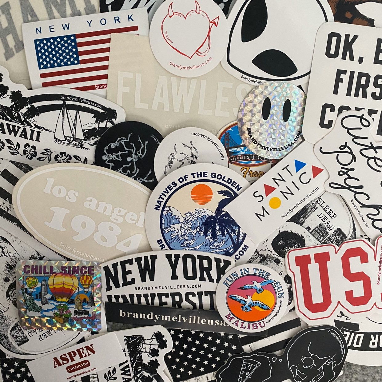 20 brandy melville stickers bundle