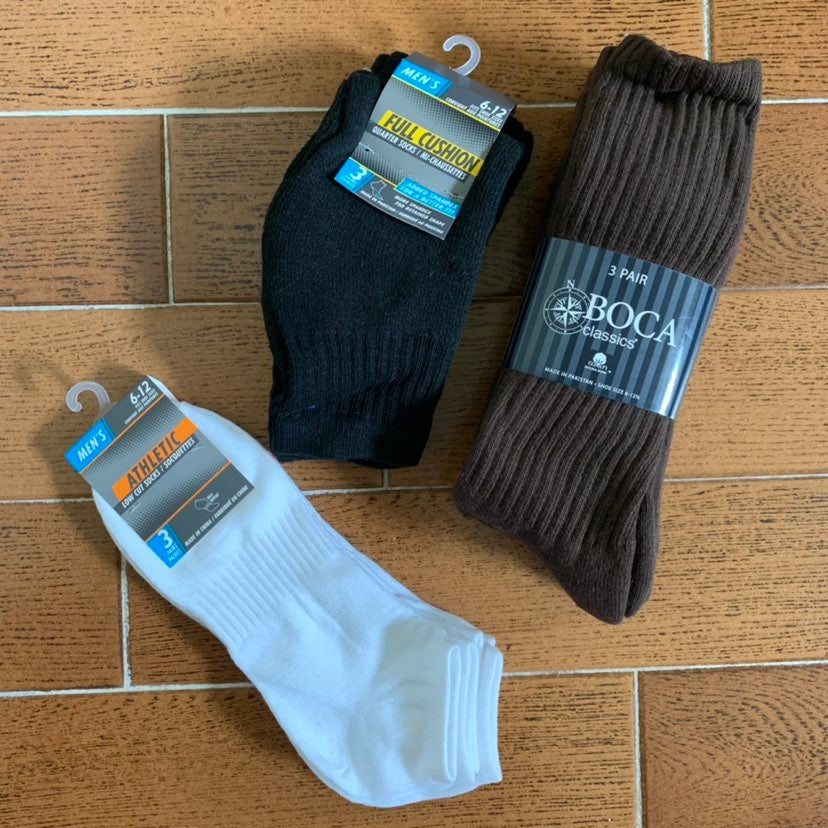Men's Socks Lot of 9 Size 6-12
