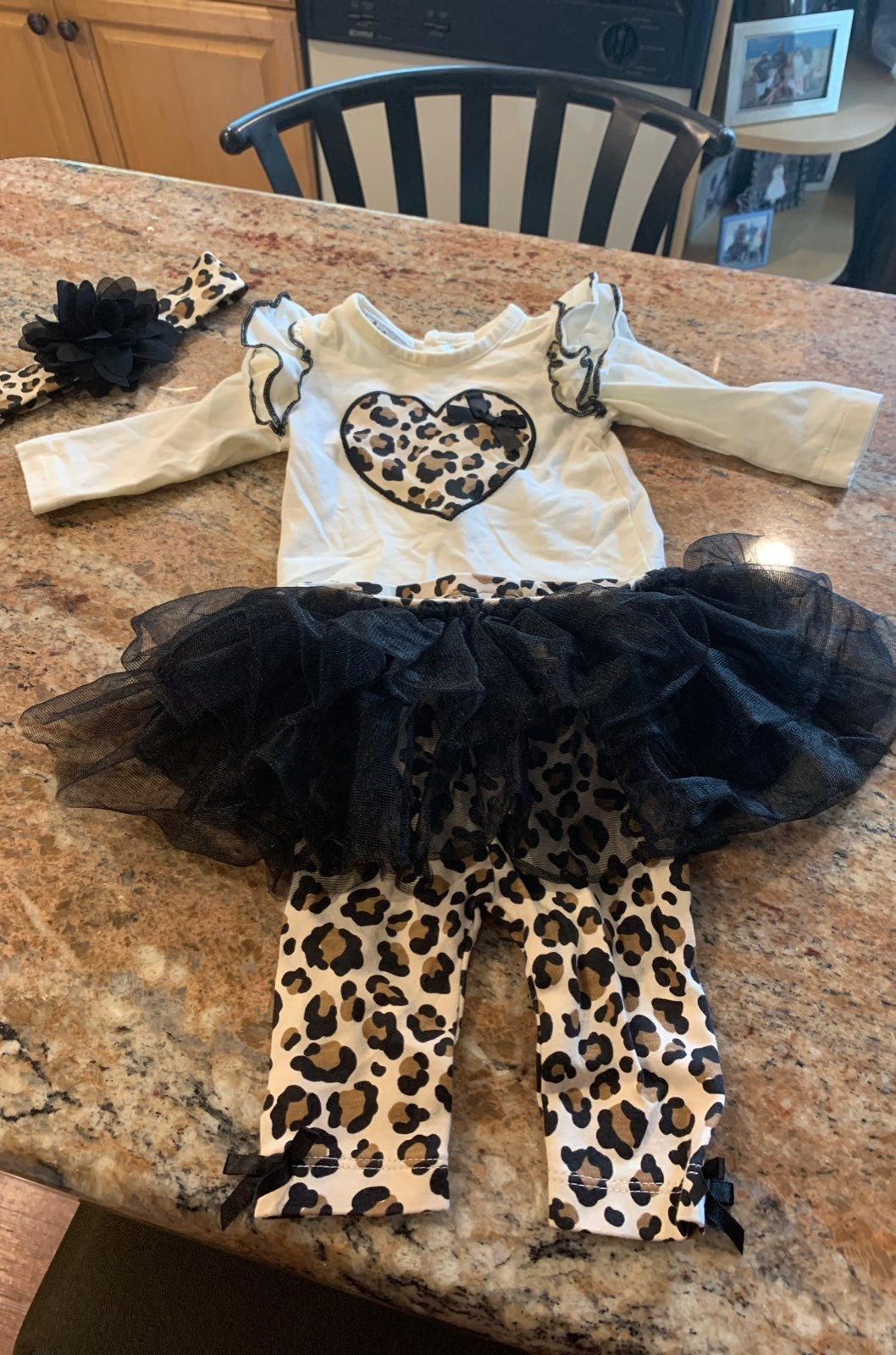 newborn girl  cheetah print outfit with