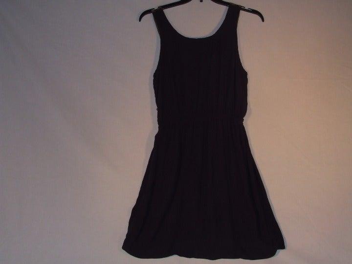 Lush Navy & Tan Open Back Summer Dress L