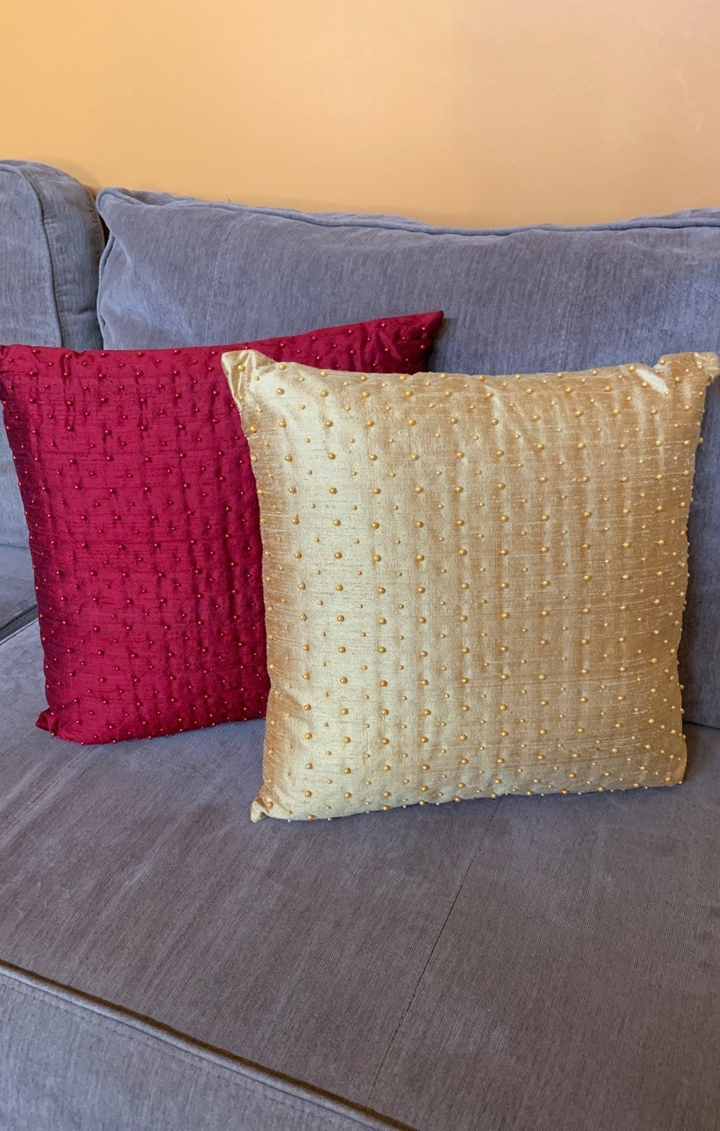 Hand Woven and Beaded Silk Pillows