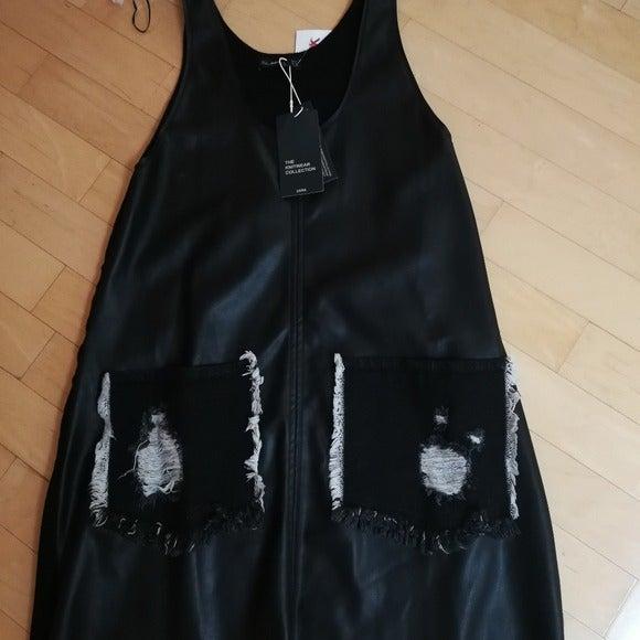 Zara romper dress faux leather black M