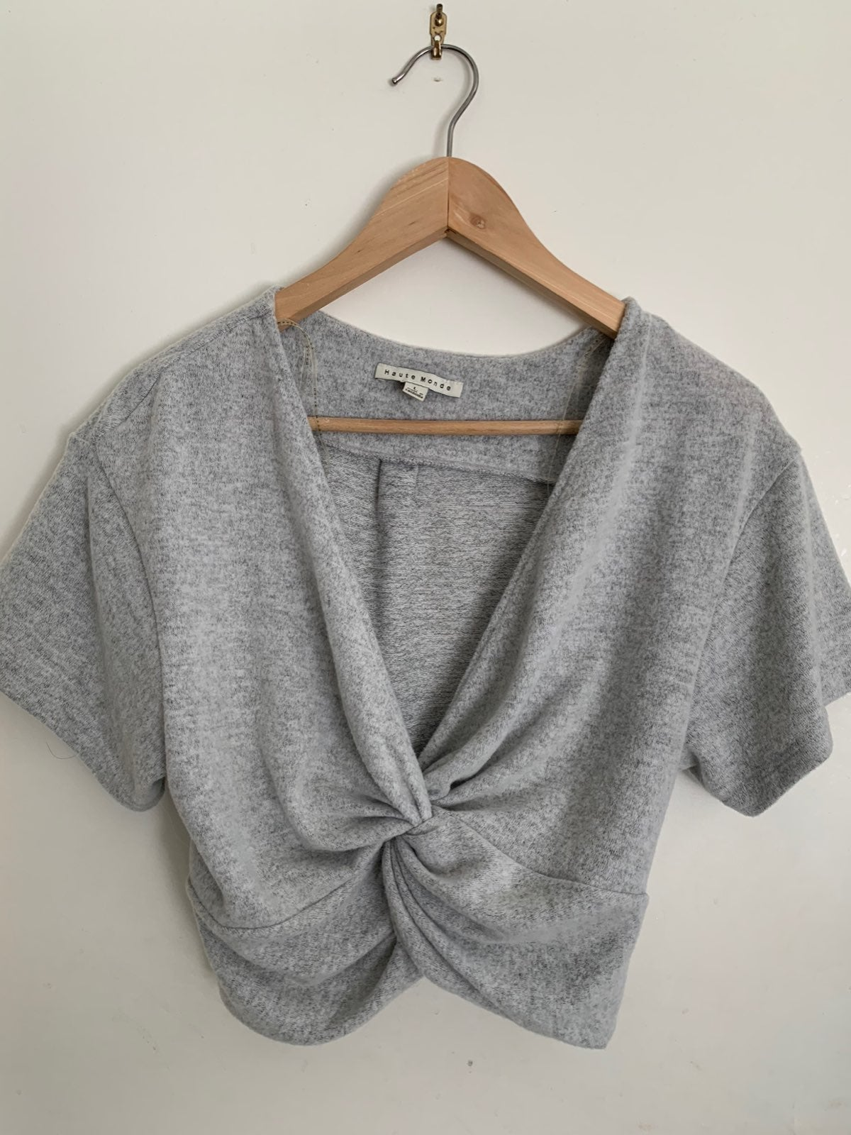 Haute Monde Gray twist front crop top