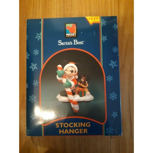 Vintage Mickey Unlimited Santa's Best Stocking Hanger Holder Mickey Mouse