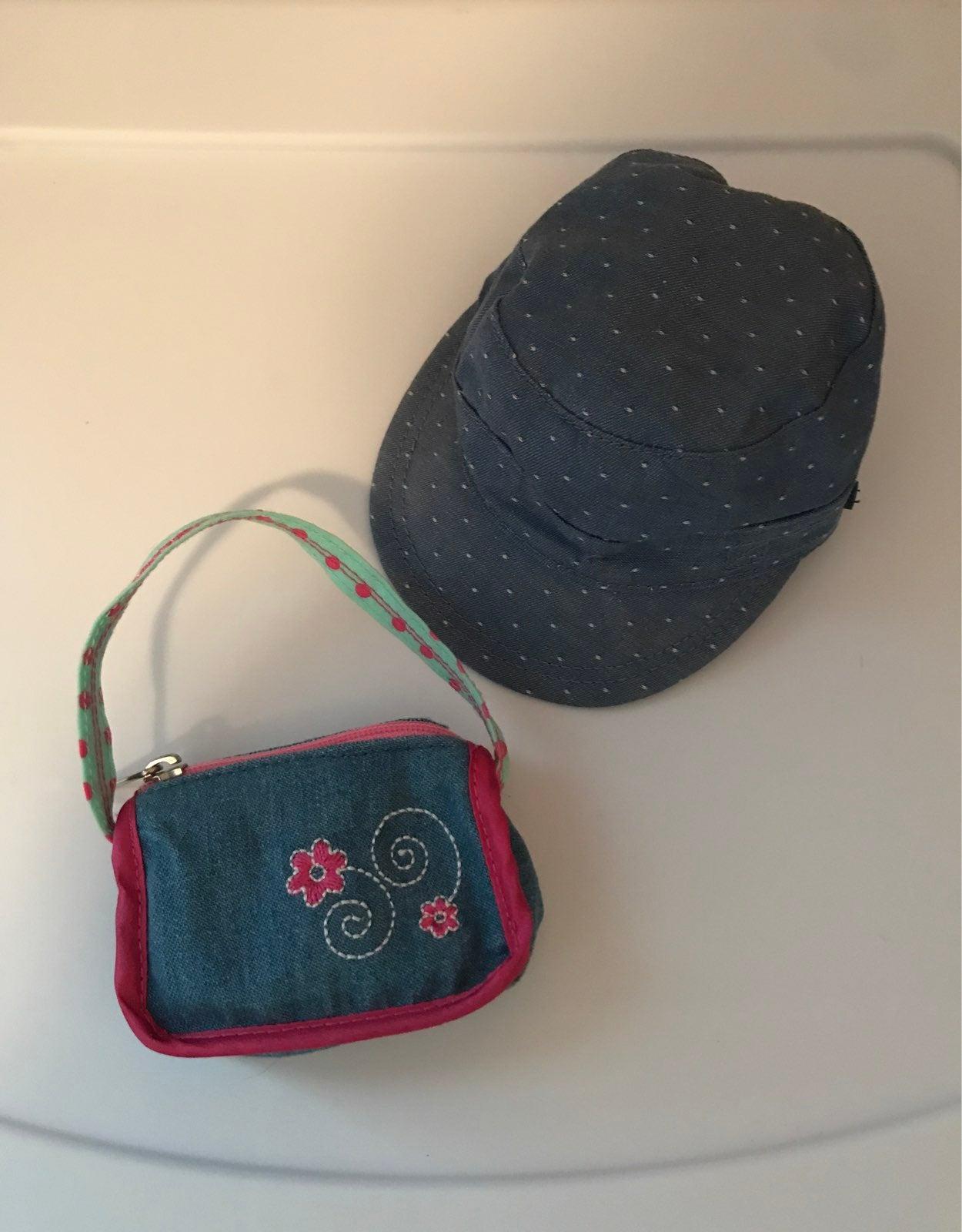 AG Denim DOT cap & Denim flower bag