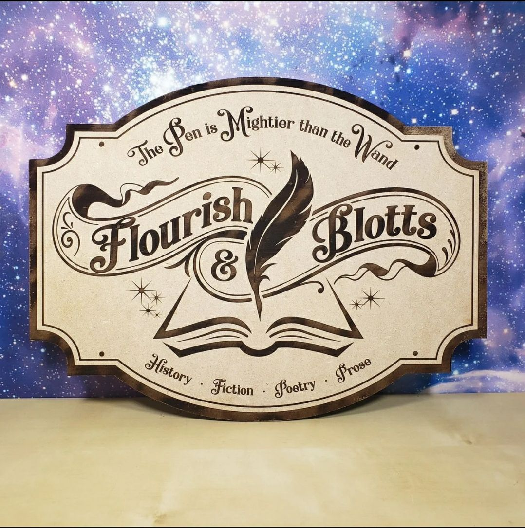 Handmade Potter Flourish and Blotts sign
