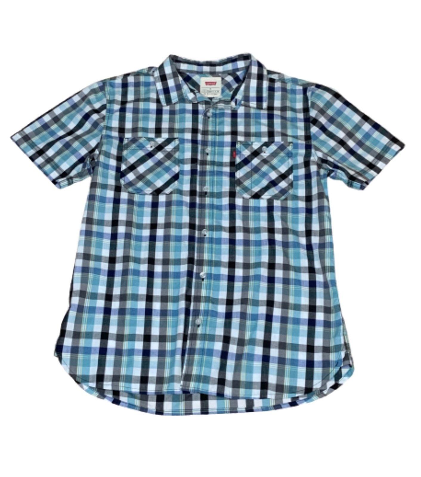 Levi's Light Blue/Black Plaid Shirt M