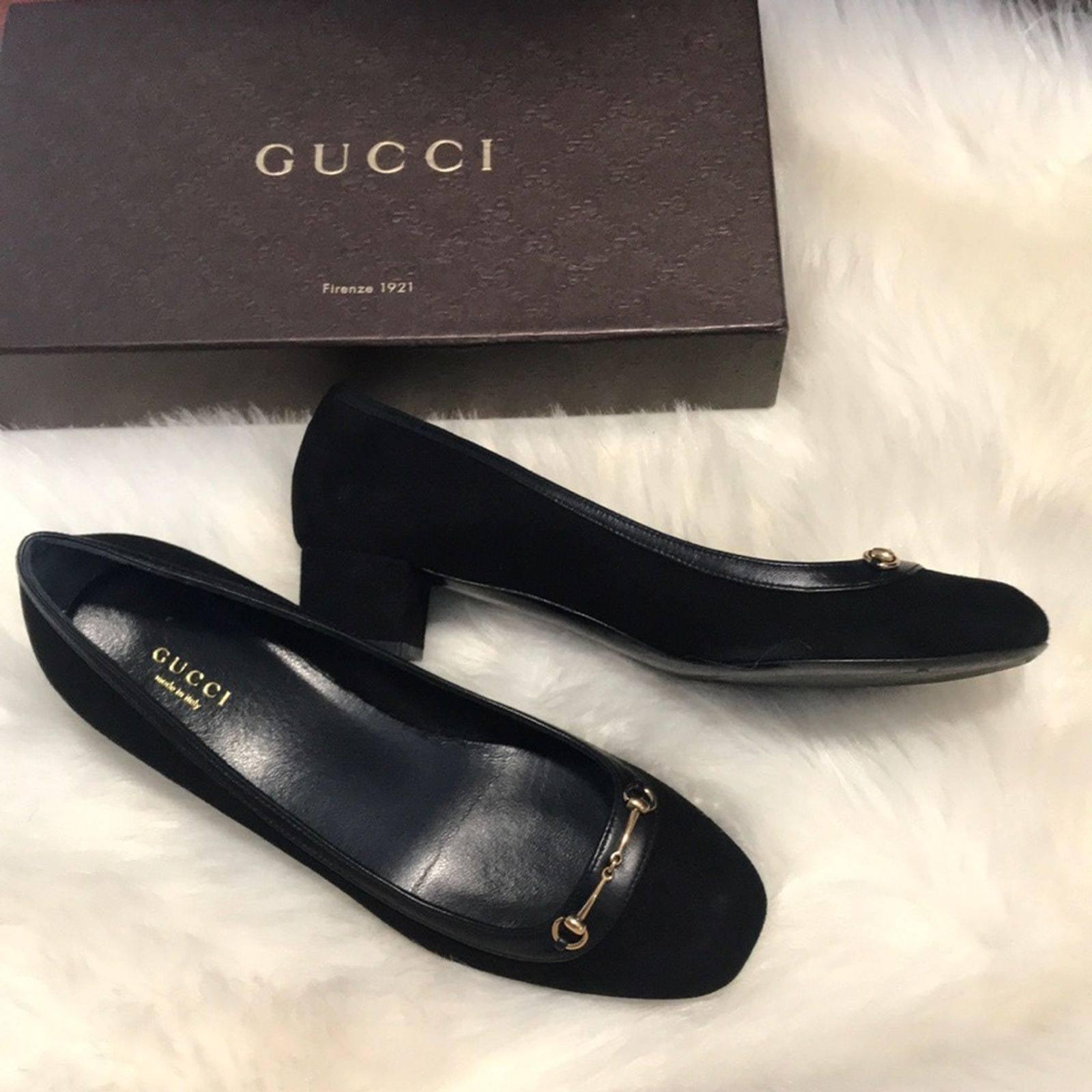 Gucci suede Block Heels Black Shoes